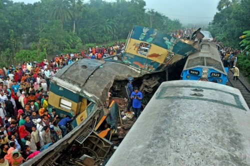 At least 16 dead after two packed trains ripped apart in crash