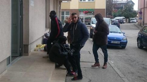 The Nigerian students arrive at the Bosnian foreign office.