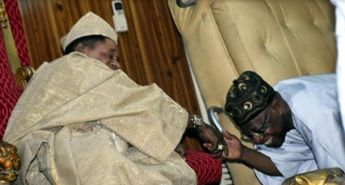Alaafin of Oyo, Oba Lamidi Adeyemi and Minister of Culture and Tourism, Lai Mohammed