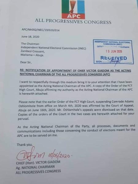 APC Crisis: Transact business with me as Ag. National Chairman, Giadom tells INEC