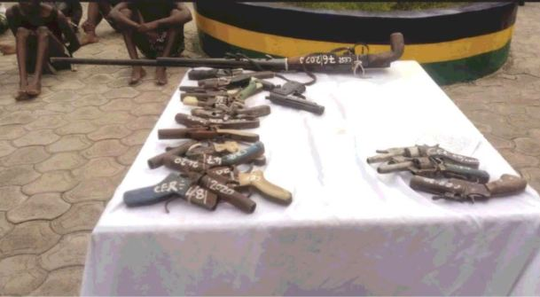 Police parades 17 suspects, recover arms in Bayelsa