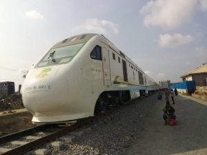 Lagos-Ibadan rail: Crowd cheers Amaechi, Mohammed as duo ride on new trains