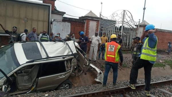 One killed, others injured as vehicles train collide with train at Oshodi