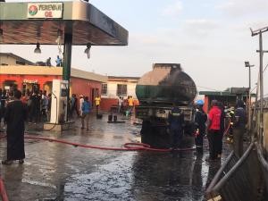 BREAKING: Petrol station on fire in Lagos as another building collapses