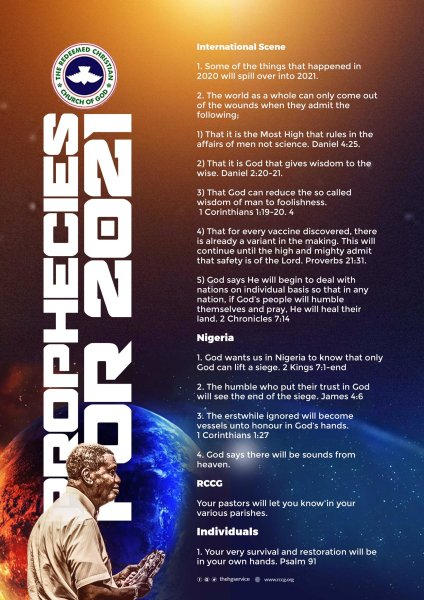 RCCG's Adeboye's 2021 prophecy in numbers