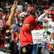 Six people shot with live rounds at Myanmar anti-coup protest