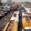 Gridlock: Sanwo-Olu looks on as trucks take over Apapa