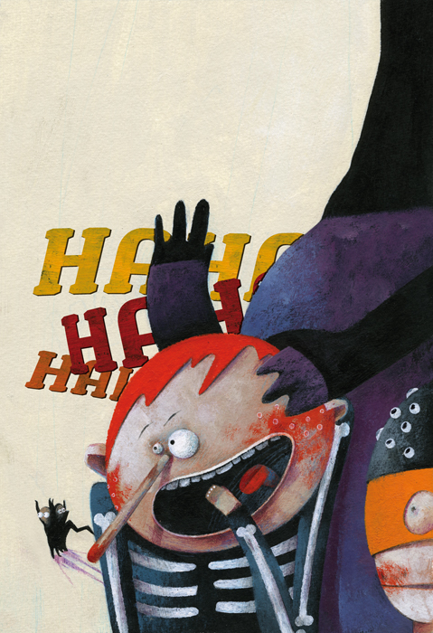 A monster and a boy laughing together. A illustration about halloween.