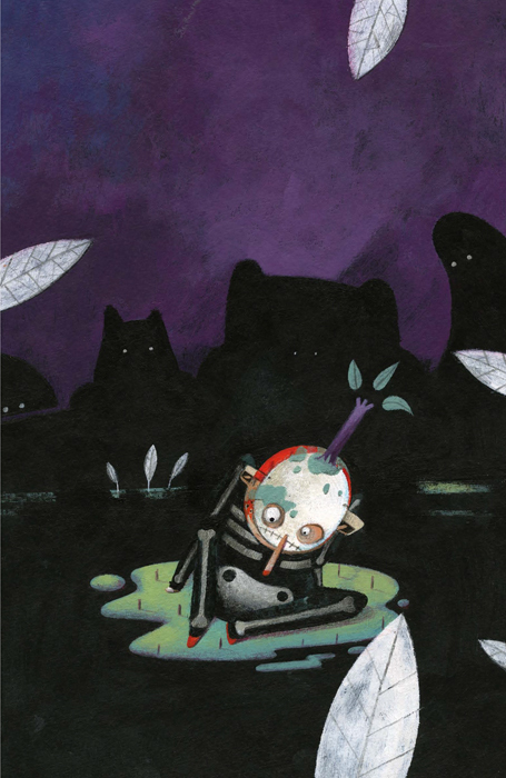 A scared boy sitting in the middle of a dark forest. Shadows of monsters surround him.