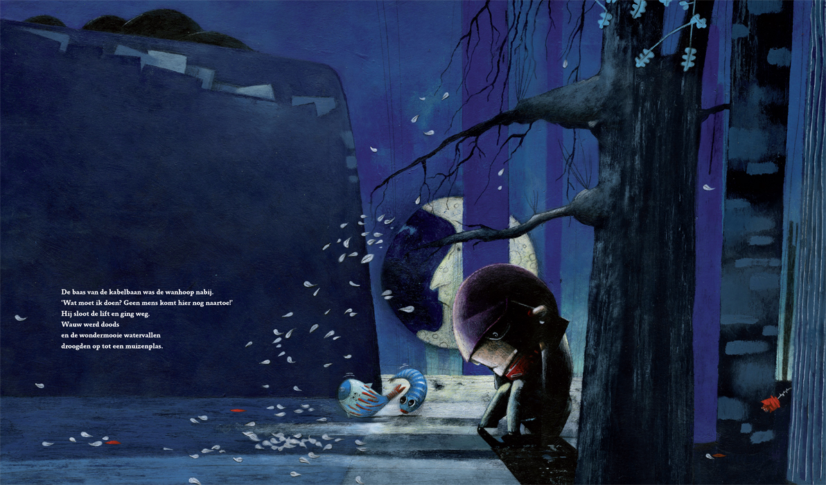 A depressed man is huddled in a dark forest. Double page illustration from the children's book Wauw! (Wow!)