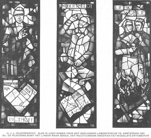 Harrie Schoonbrood, ontwerp voor een glasraam voor het geologisch laboratorium van de universiteit van Amsterdam, afscheidstentoonstelling van R.N. Roland Holst in de Rijksacademie te Amsterdam (1934).