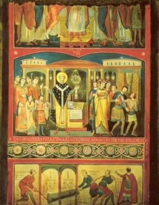 Clemens in de Legenda aurea: Clemens en Sisinnius (digitale reconstructie fresco San Clemente elfde eeuw).