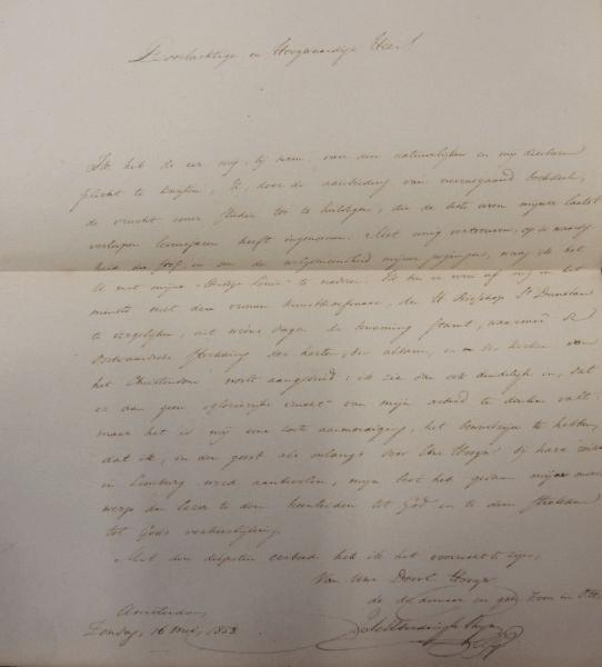 Brief Thijm aan van Vree 'Geen bouwkunst zonder orientatie' (1859)