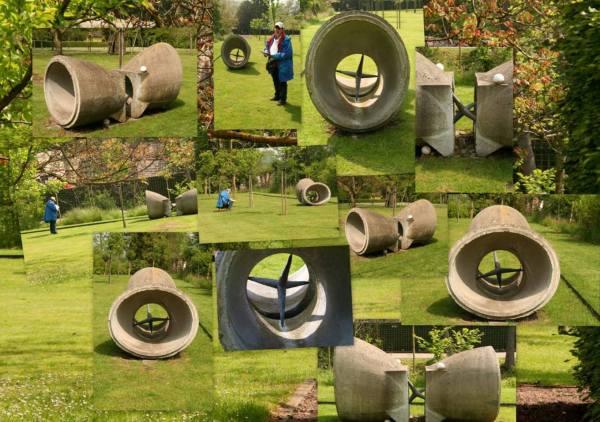 Gom | Met Kunst der Vormen in Wylre, bezig met een gedicht over dit werk van Leo Vroegindeweij. Collage bvhh.nu 2010.