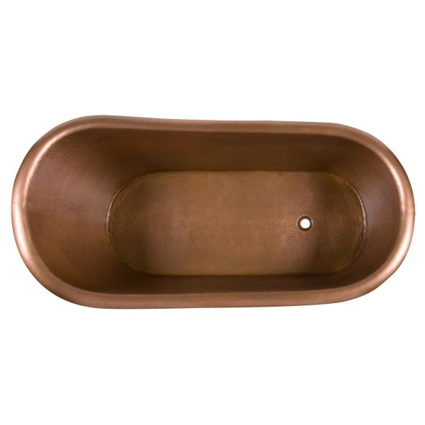 Hammered Copper Clawfoot Slipper Bathtub