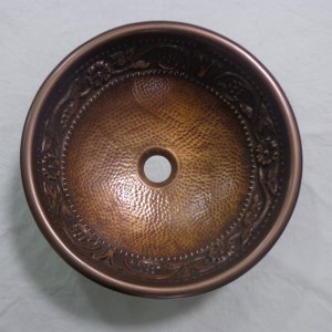 Copper Sink Embossed Hammered