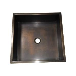 Square Double Wall Antique Brass Sink