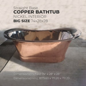 Straight Base Copper Bathtub Nickel Inside Big Size 74x28x28