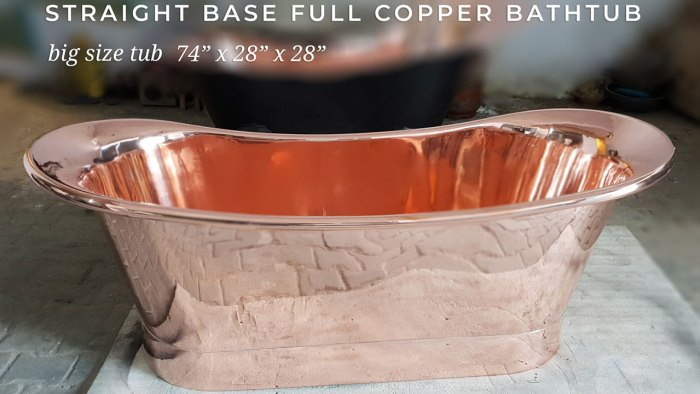 Straight Base Copper Bathtub - Vani Crafts