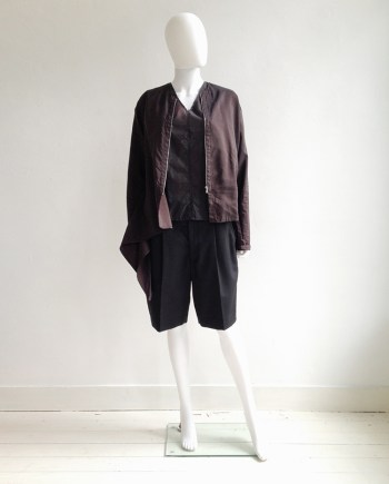 vintage Dries Van Noten purple bomber jacket | Ann Demeulemeester aggplant top | Comme Des Garcons oversized white shorts | shop at vaniitas.com