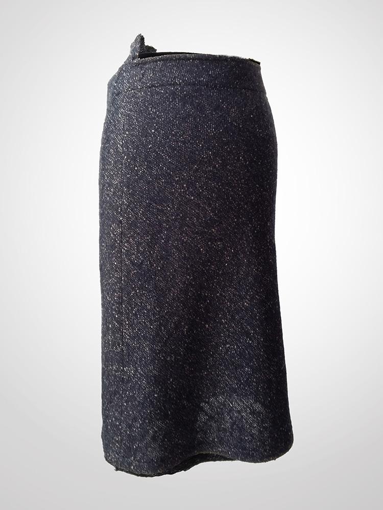 Yohji Yamamoto speckled fabric wool drape skirt back