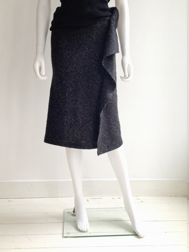 Yohji Yamamoto Noir grey asymmetric draped skirt