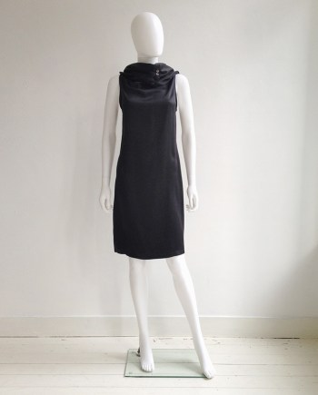 vintage Ann Demeulemeester black cowl neck dress with open back