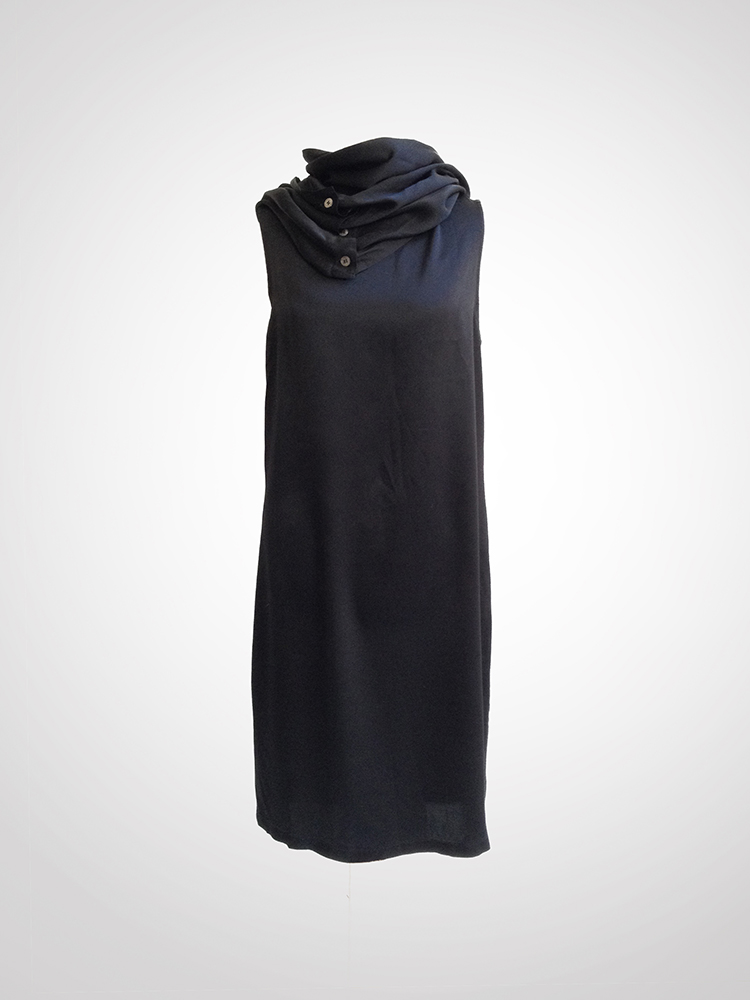 Ann Demeulemeester black cowl neck dress with open back | V A N II T A S