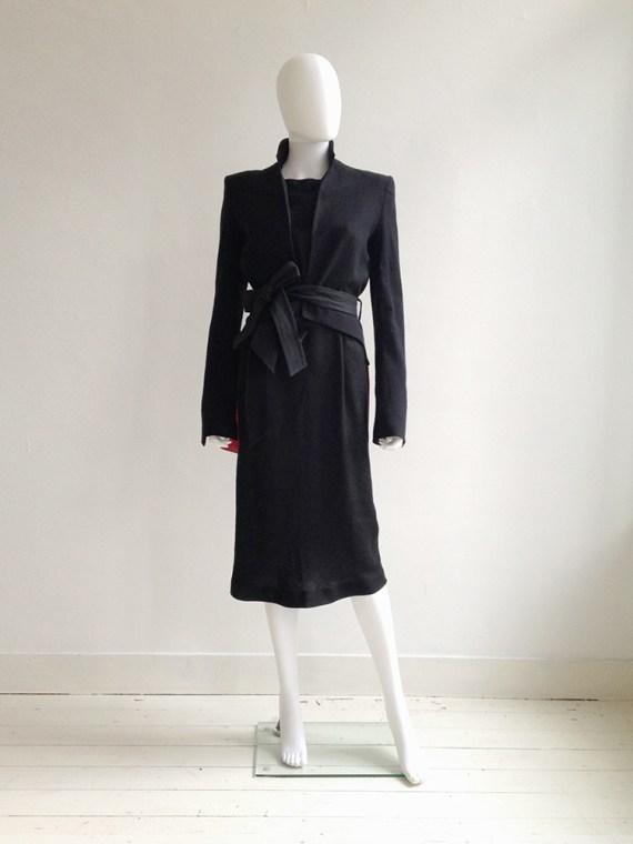 Tim Van Steenbergen black belted dress   Haider Ackermann black lapel blazer runway s/s 2011   shop at vaniitas.com