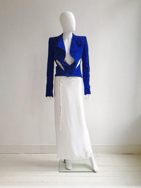 Haider Ackermann blue suede cutout jacket – spring 2012 | Ann Demeulemeester poetry skirt – spring 2000 | Ann Demeulemeester white tanktop | shop at vaniitas.com