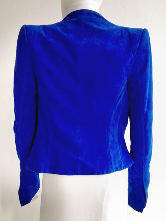 second hand Haider Ackermann blue suede cutout jacket - spring 2012