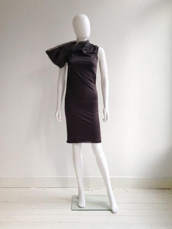 vintage Rick Owens brown asymmetric collar dress fall 2010 - GLEAM