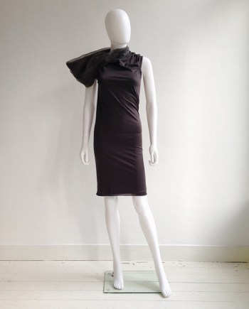 vintage Rick Owens brown asymmetric collar dress fall 2010 - GLEAM
