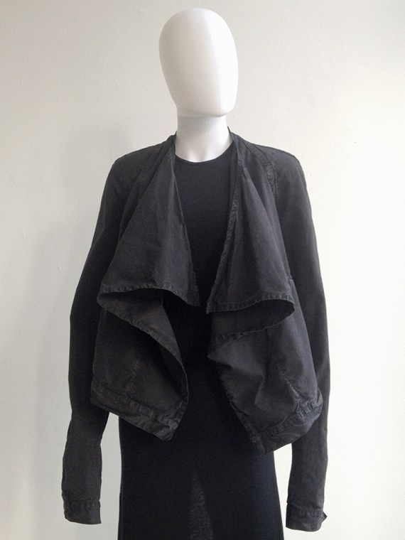 Rick Owens DRKSHDW black draped jeans jacket