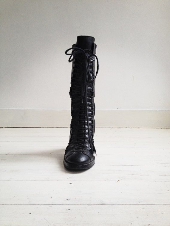 second hand Ann Demeulemeester black triple lace boots - fall 2008