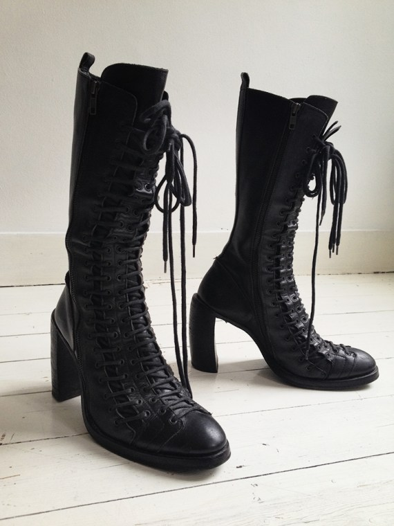 Ann Demeulemeester black triple lace boots - fall 2008 | shop at vaniitas.com