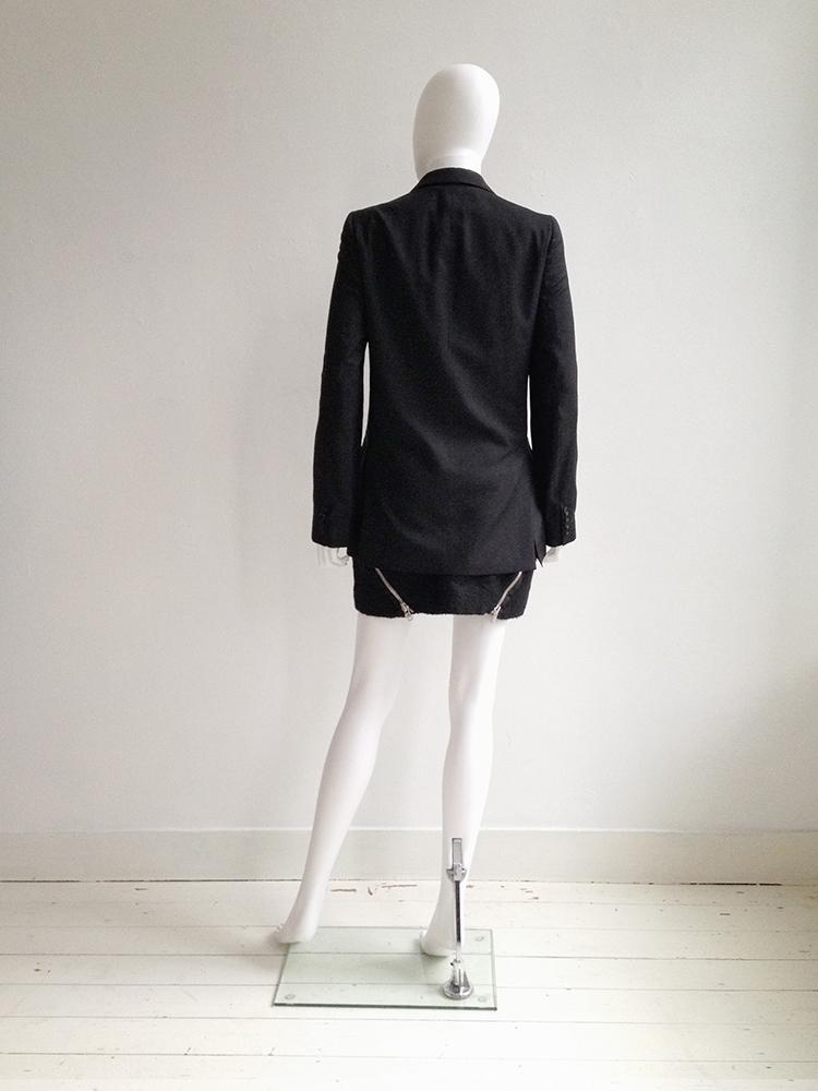 Helmut Lang black bondage straps blazer — fall 2002 | Maison Martin Margiela black double zipper skirt — fall 2008 | Nicolas Andreas Taralis muscle tee | shop at vaniitas.com