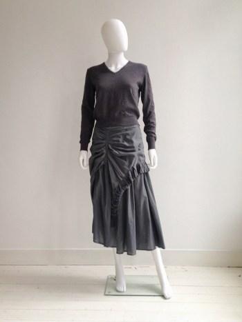Maison Martin Margiela permanently creased sweater - fall 1990 | Dries Van Noten grey ruffled maxi skirt — spring 1999 | shop at vaniitas.com