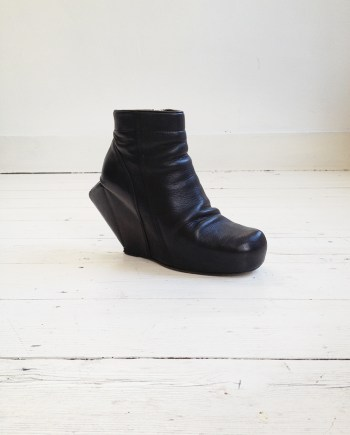 second hand Rick Owens black turbo boots with peak wedge