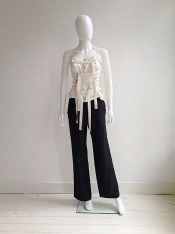 Ann Demeulemeester white bondage strap top — spring 2003 | Ann Demeulemeester black wide trousers | shop at vaniitas.com