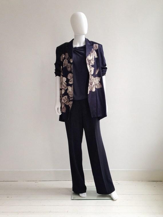 second hand Dries Van Noten blue floral satin kimono jacket