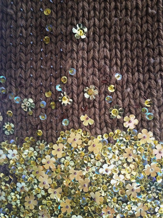 vintage Dries Van Noten brown scarf with yellow flowers — fall 2000