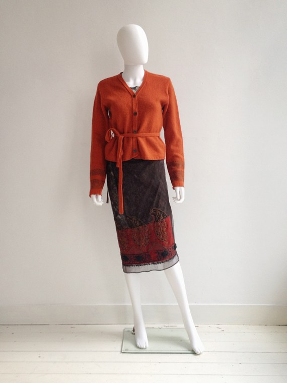 Dries Van Noten orange printed sleeve cardigan — fall 1997 | Dries Van Noten sheer printed dress — spring 1998 |spring 1998Dries Van Noten brown Indian embellished skirt — spring 1997 | shop at vaniitas.com