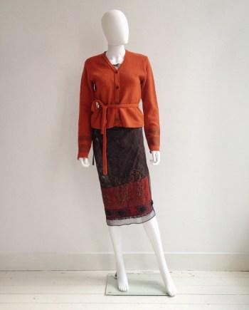 Dries Van Noten orange printed sleeve cardigan — fall 1997 | Dries Van Noten sheer printed dress — spring 1998 |spring 1998Dries Van Noten brown Indian embellished skirt — spring 1997 | shop at vaniitas.com