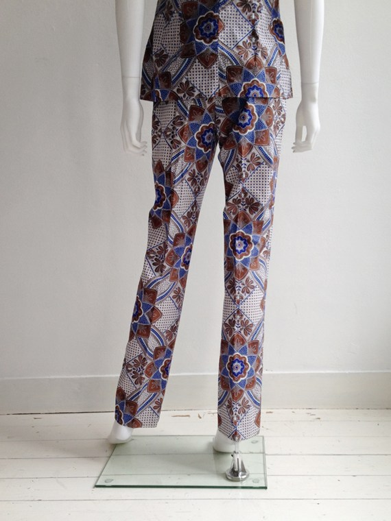 archive Dries Van Noten blue and white floral batik suit — fall 1997
