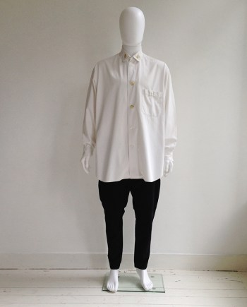 Yohji Yamamoto pour Homme white shirt with different buttons