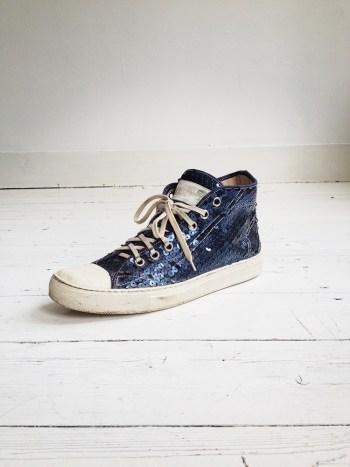 vintage Maison Martin Margiela blue sequin sneakers