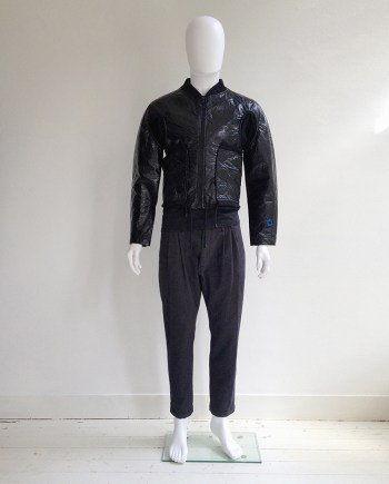 Walter Van Beirendonck W&LT black plastic bomber jacket — spring 1997