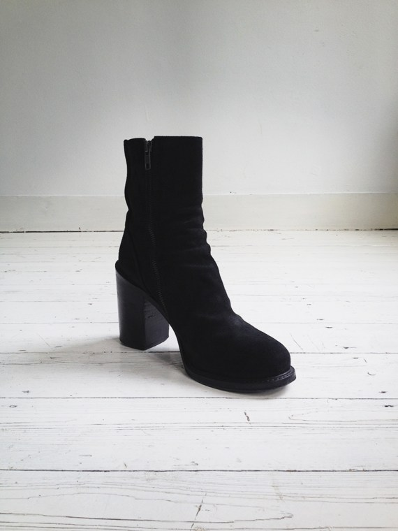 A F Vandevorst black suede ankle boots 3781 copy