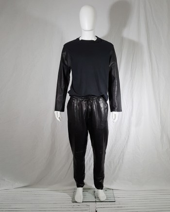 Maison Martin Margiela artisanal black top with leather sleeves — 2004